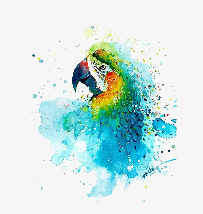 Watercolor Painting Printmaking Parrot - Parrot Watercolor Painting, transparent png #115386