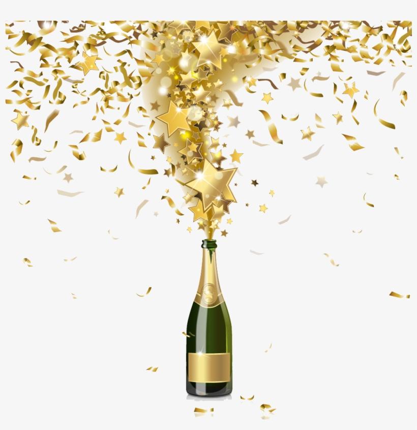 Champagne Bottle Png Background Image - Gold Champagne Bottle Png, transparent png #116961