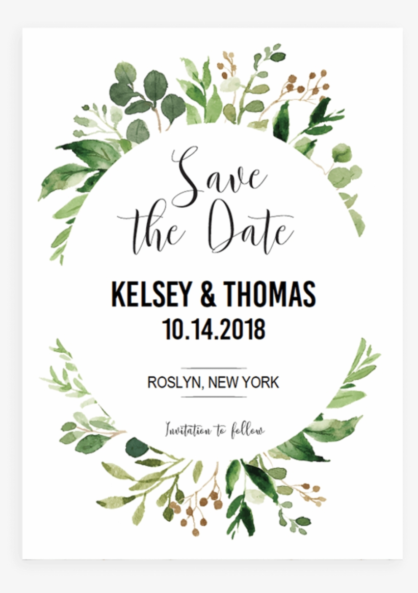 Green Leaves Watercolor Template - Save The Date Template Green, transparent png #118362