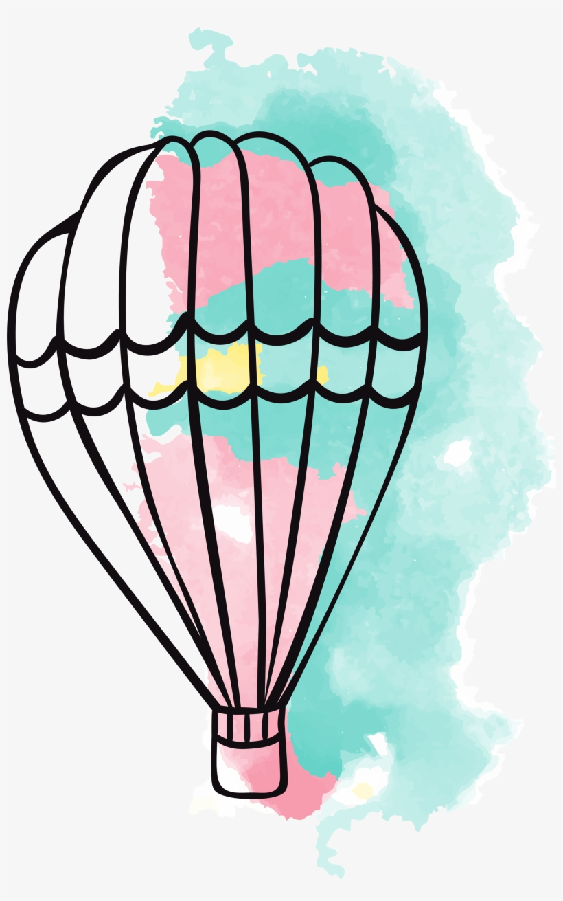 Banner Balloons Clipart Airplane - Hot Air Balloon Watercolor Painting, transparent png #119207