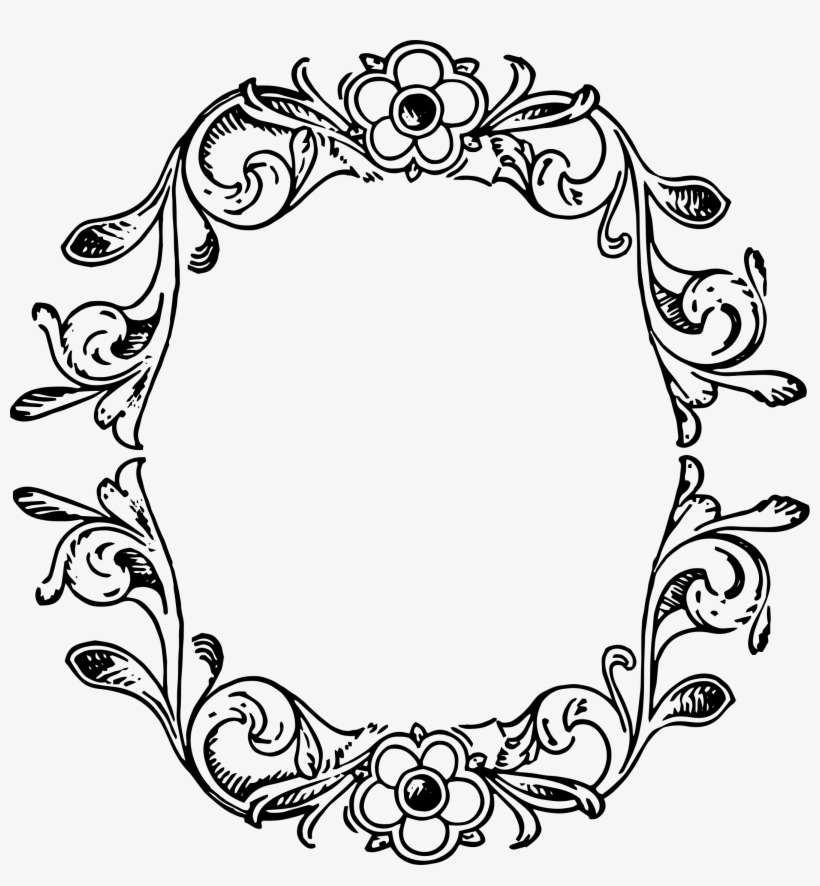 Flower Border Vector Png - Decorative Frame Vector Png