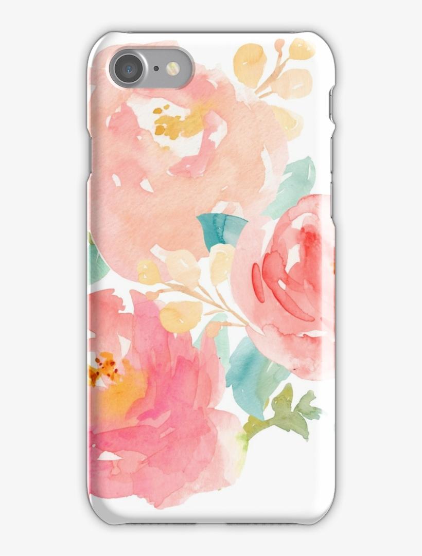 Peonies Watercolor Bouquet Iphone 7 Snap Case - Watercolor Flowers Bouquet Png, transparent png #119997