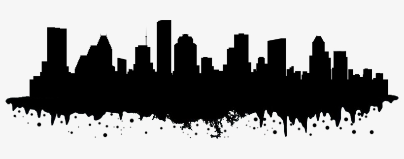 Houston Skyline Png Black And White Download - Houston Skyline Silhouette Transparent, transparent png #1107488