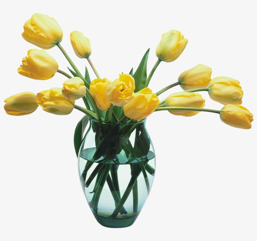 Glass With Tulips Gallery Yopriceville High Quality - Vase Of Flowers Png, transparent png #1107702