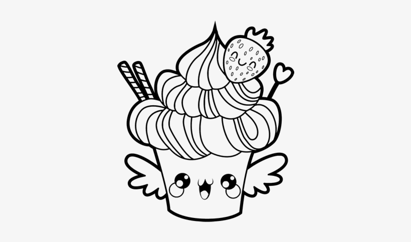 Kawaii Food Coloring Pages Cupcake Kawaii Free Transparent Png