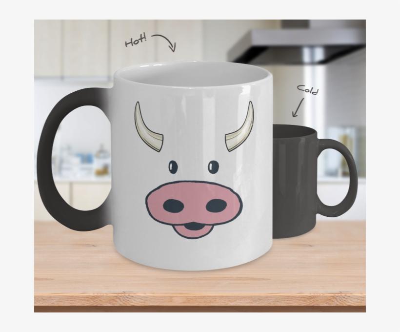 Cow Face Color Changing Coffee Mug - Magic Coffee Mug - Groomsman Service - Groomsmen Gift, transparent png #1119077