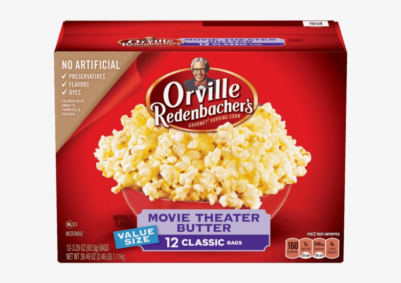 Orville Redenbacher S Movie Theater Butter Popcorn Orville Redenbacher Butter Popcorn Nutrition Free Transparent Png Download Pngkey