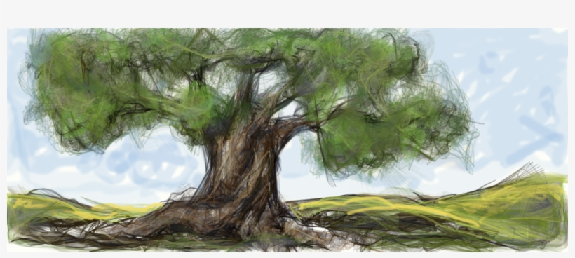 Image Free Download Camo Drawing Ancient Tree - Ancient Olive Tree Painting, transparent png #1129979