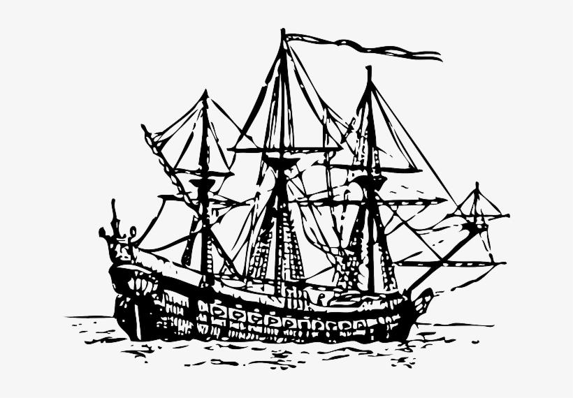 Outline, Ship, Boat, Ocean, Century, Sea, Sail - Spanish Armada Ship Png, transparent png #1130848
