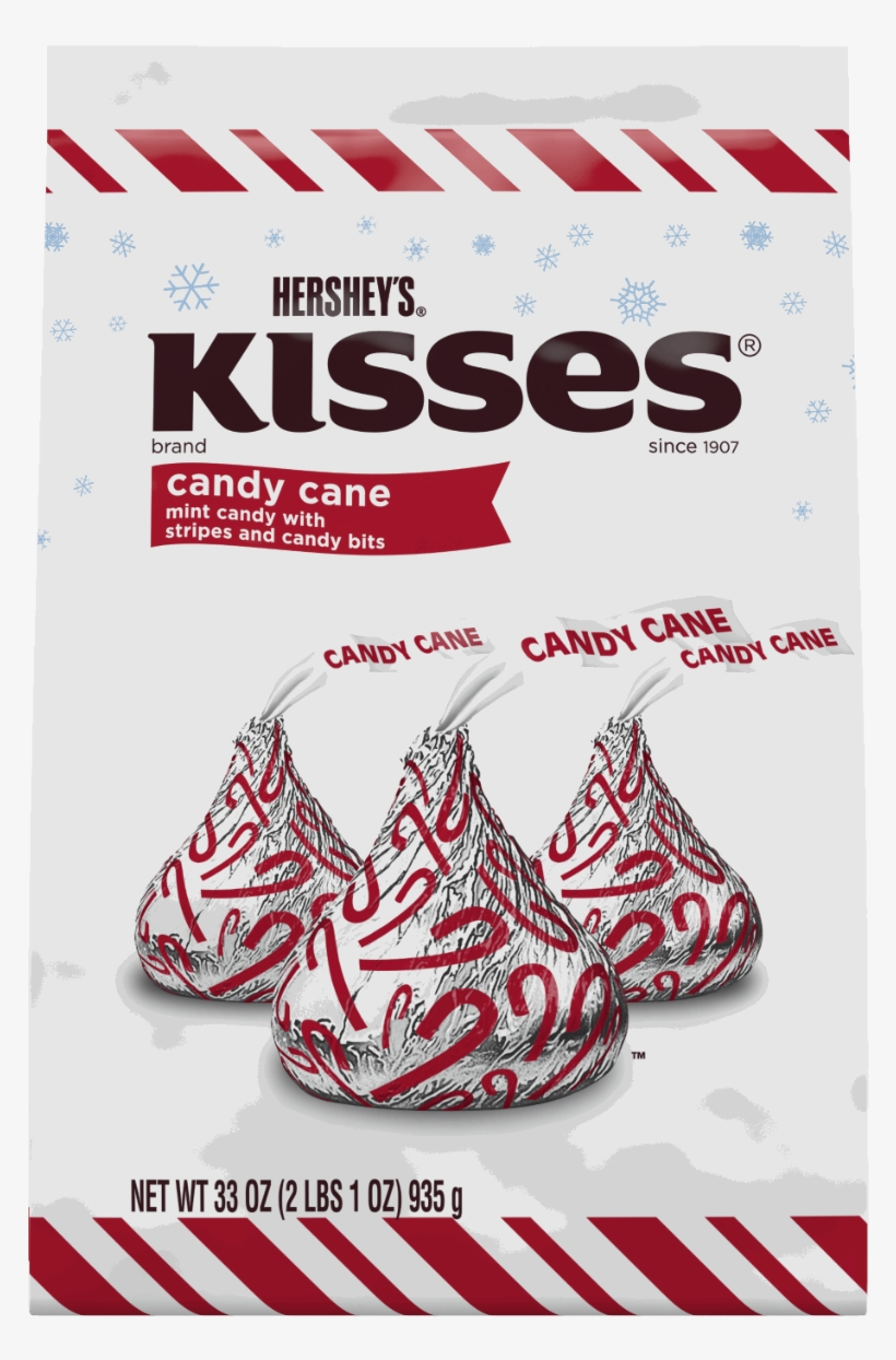 Hersheys Holiday Kisses Candy Cane Mint Candies 178ounce - Hersheys Kisses Candy Cane - 33 Oz, transparent png #1131546