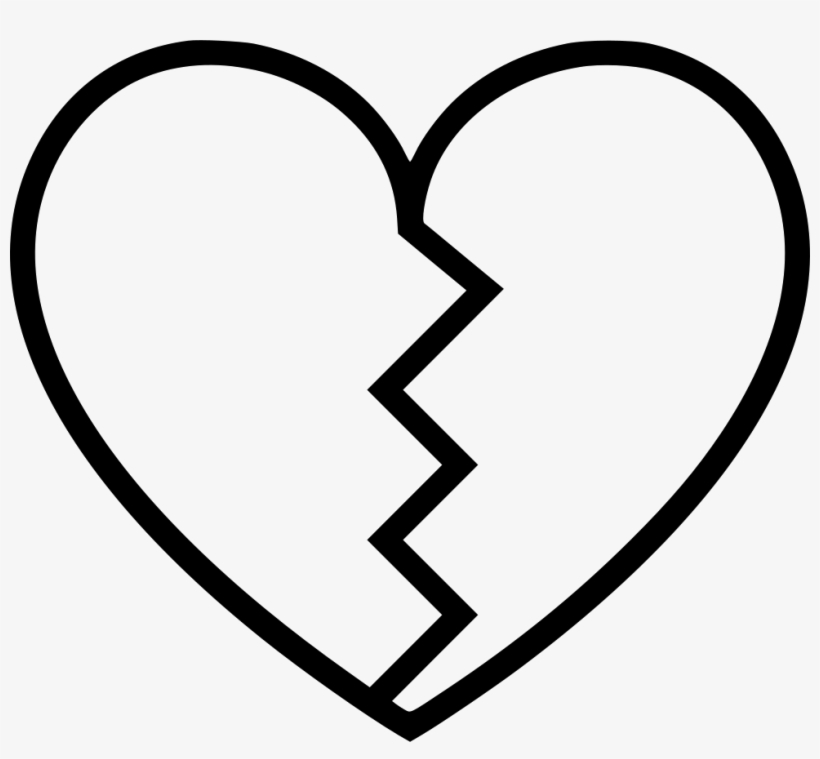 Heart Broken - - Broken Heart Black And White, transparent png #1132232