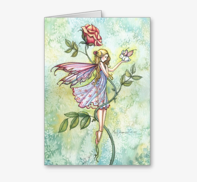 Fairy Art And Fantasy Art Gift Items By Molly Harrison - Thank You Card - Fairy And Bunny Fairy Card, transparent png #1134403