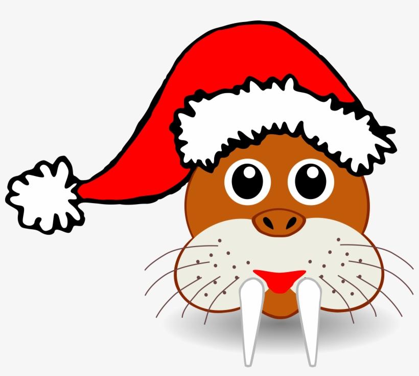 Palomaironique Walrus Head Cartoon Brown With Santa - Clip Art Animal Head, transparent png #1134824