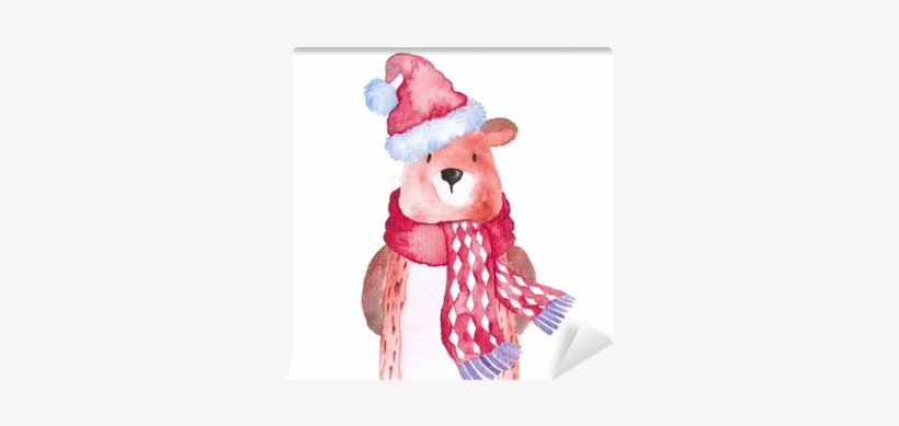 Bear Christmas Animals Winter Watercolor Hand-painted - Christmas Watercolor Animals, transparent png #1134956
