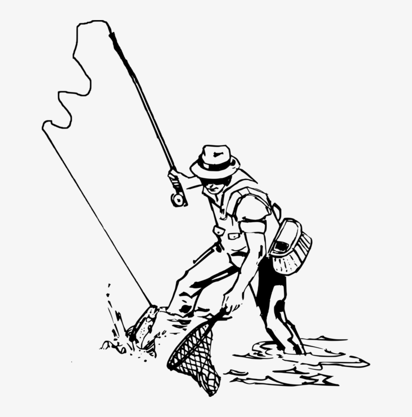 Fisherman Fly Fishing Fishing Rods Fishing Nets - Drawing Of Man Fishing, transparent png #1135853