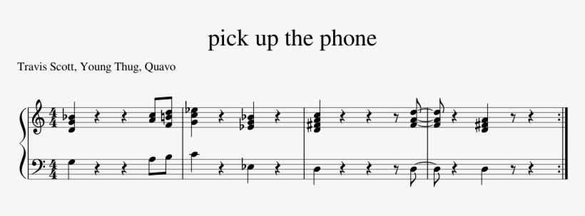 Pick Up The Phone By Travis Scott And Young Thug Ft - Pick Up The Phone Travis Scott Sheet Music, transparent png #1136292