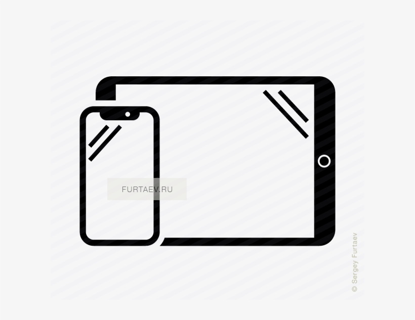 Vector Icon Of Vertical Smartphone And Horizontal Tablet - Iphone, transparent png #1140320