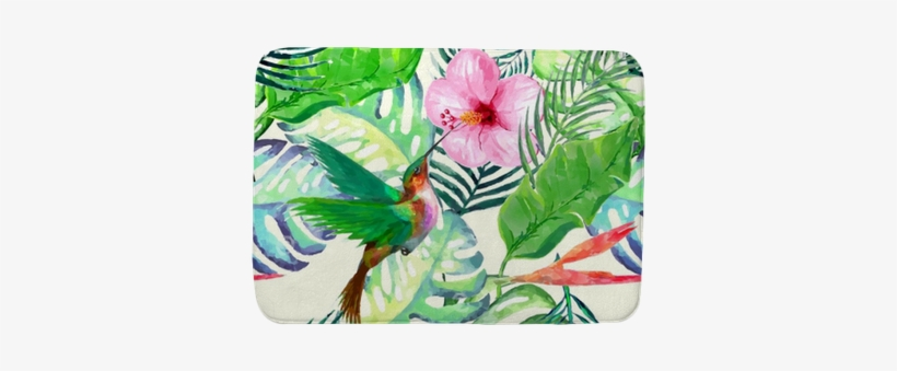 Watercolor Wild Exotic Birds On Flowers Seamless Pattern - Watercolor Painting, transparent png #1147120