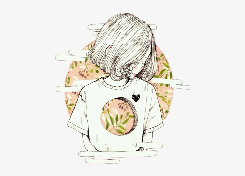 Anime Animegirl Short Hair Circle Glitch Anime Girls In A Circle Free Transparent Png Download Pngkey