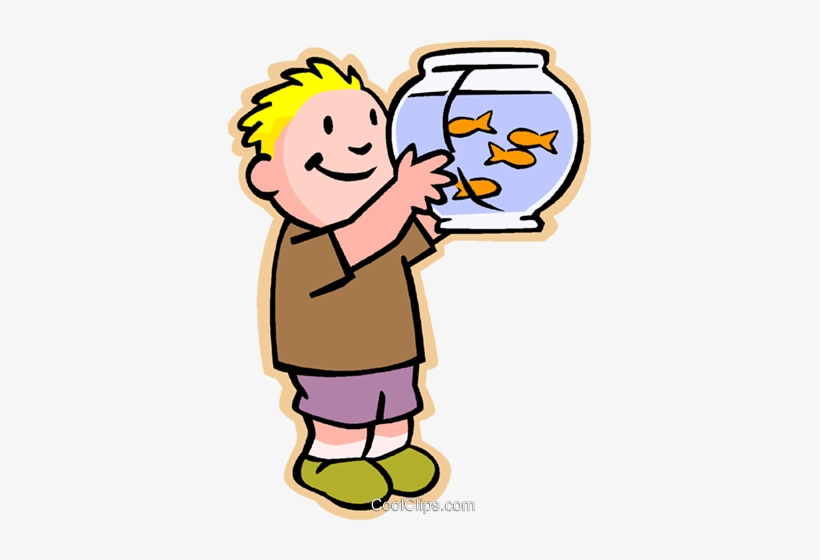 Little Boy With Fish Bowl Royalty Free Vector Clip - Goldfish Clipart, transparent png #1159375