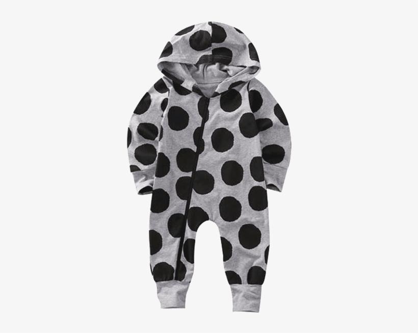 884de50b7d48 Petite Bello Romper 0-6 Months Black Dots Romper - Baby Hooded Jumpsuit  Zipper Clothes