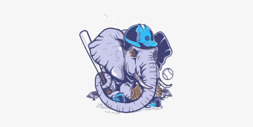 Animal Baseball Elephant Custom Ideas - Elephant Baseball Flag T-shirt, transparent png #1165680