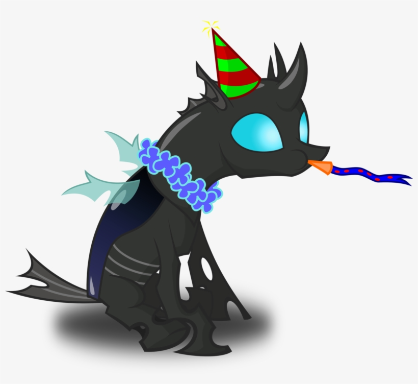Zimvader42, Changeling, Hat, Lei, New Years Eve, Noisemaker, - Happy Birthday Mlp Changeling, transparent png #1177220