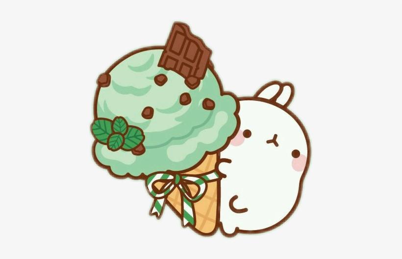 Molang Cute Bunny Cutebunny Cutesticker Icecream Icecre - Kawaii Mint Chocolate Chip Ice Cream, transparent png #1177353