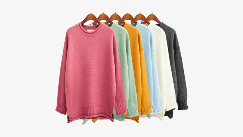 Itgirl Shop Candy Colors Knit O Neck Sweaters Aesthetic Sweaters