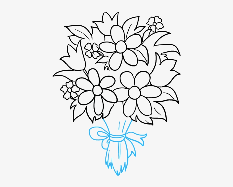 How To Draw Flower Bouquet - Drawing, transparent png #1180963