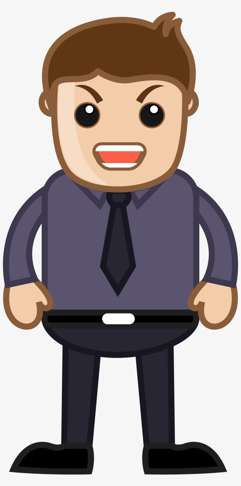 Person Transparent Office Angry Man Cartoon Png Free Transparent