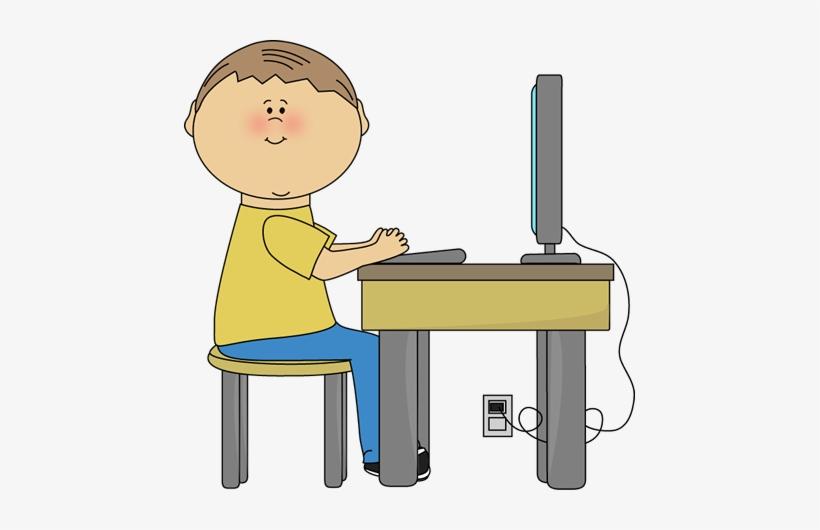 Student Using Computer Clip Art Image Boy Student Sitting ...