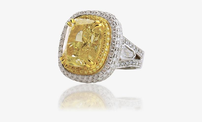 10 Carat Cushion Cut Fancy Yellow Diamond Ring - Pre-engagement Ring, transparent png #1188952