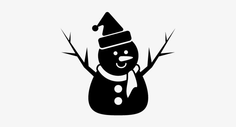 Snowman Of Xmas In Black With Bonnet Scarf And Two Bonhomme De