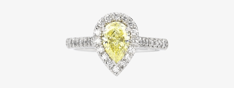 Pear Cut Yellow Diamond Halo Ring - Pre-engagement Ring, transparent png #1189536
