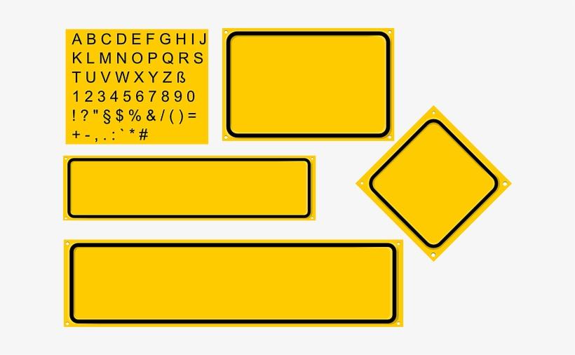 Sign, Set, Yellow, Diamond, Builder, Rectangles - Yellow Rectangular Road Signs, transparent png #1189640