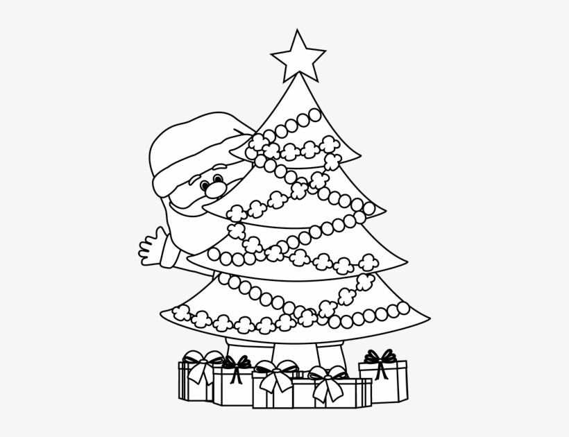 Christmas Clipart Black And White.Black And White Santa Behind Christmas Tree Christmas