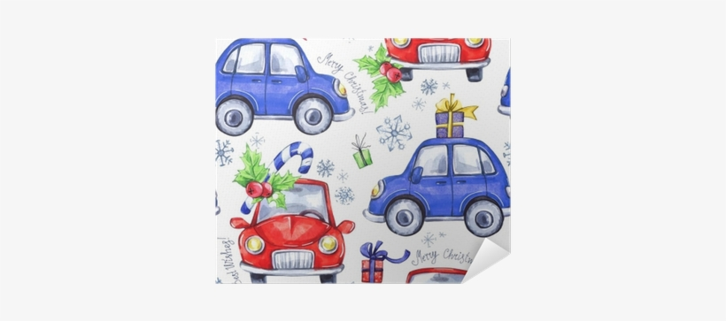 Watercolor Seamless Pattern With Cartoon Holidays Cars - Watercolor Painting, transparent png #1198597