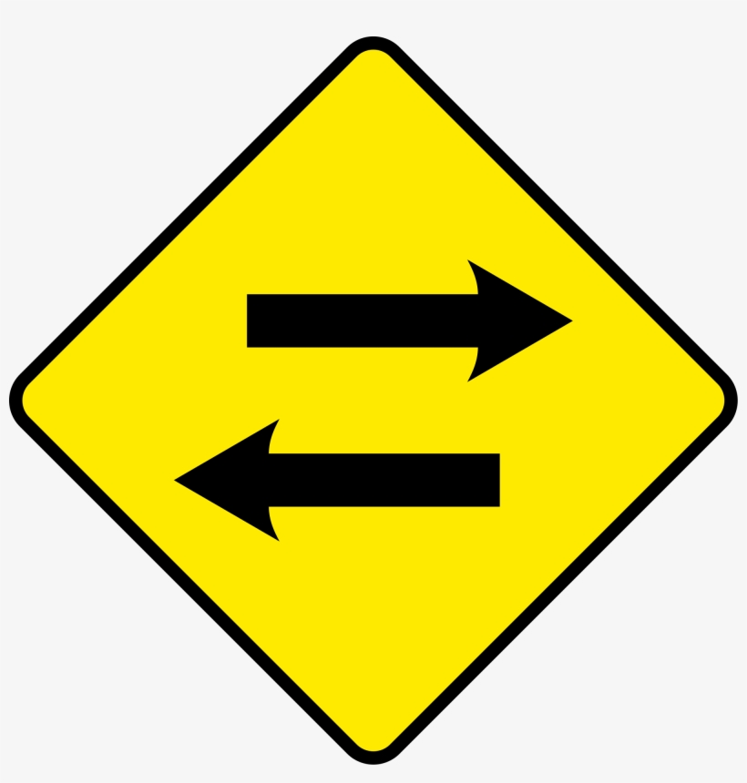 Sign Arrow Png Excellent - 2 Way Traffic Road Sign, transparent png #1199028