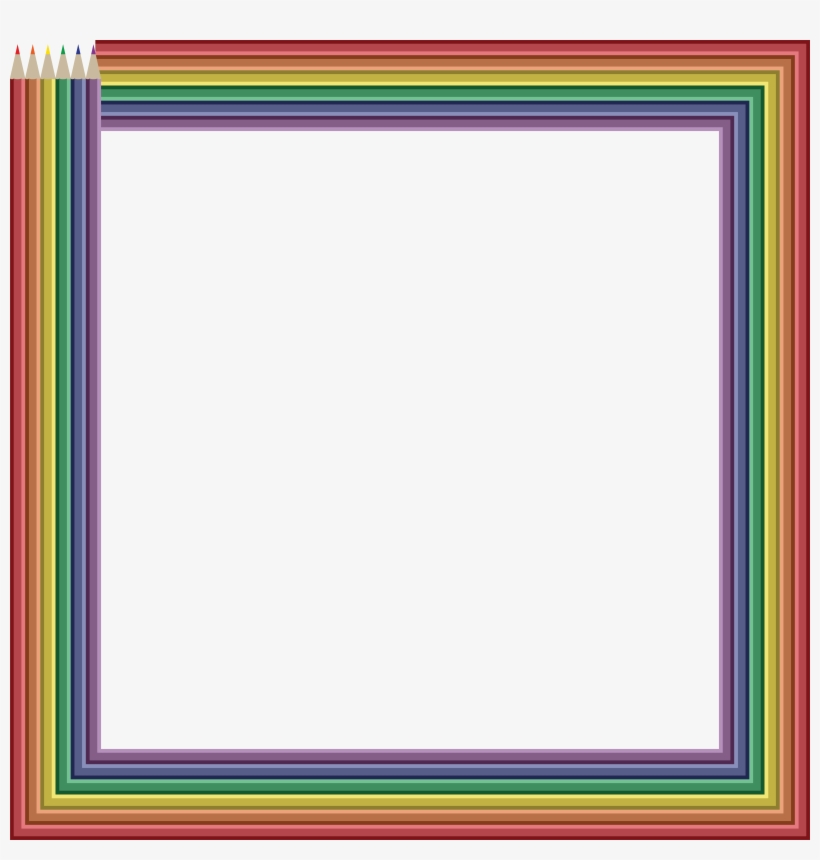 Free Clipart Of A Frame Of Colored Pencils - Colored Pencil Frame Png, transparent png #1199546