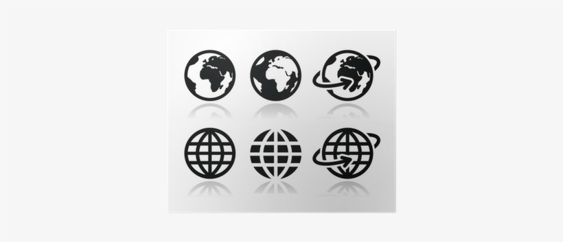 Globe Earth Vector Icons Set With Reflection Poster - International School Carinthia, transparent png #1199573