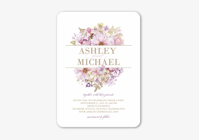 Watercolor Bouquet Wedding Invitations - Wedding Card Vintage Design, transparent png #120805