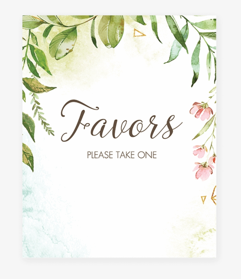 graphic about Please Take One Sign Printable identified as Printable Favors Make sure you Get Just one Indication Watercolor Leaves