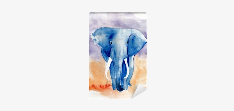 Blue Elephant Watercolor Illustration Wall Mural • - Gallery Direct 'blue Elephant' Framed Painting Print, transparent png #123409