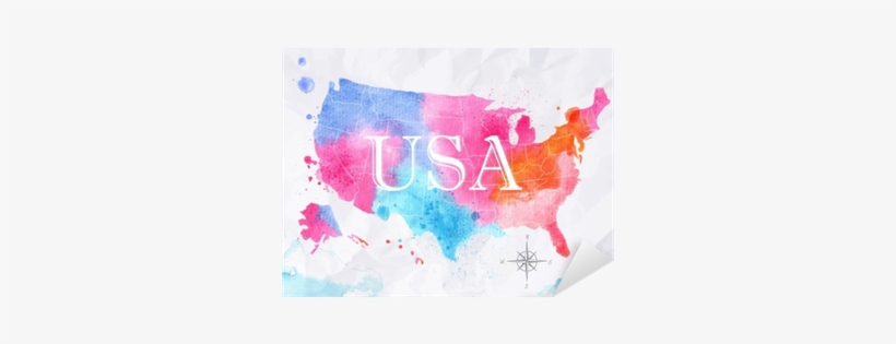 Watercolor Map United States Pink Blue Sticker • Pixers® - Art Print: Anna42f's Ink United States Map, 61x46cm., transparent png #123959