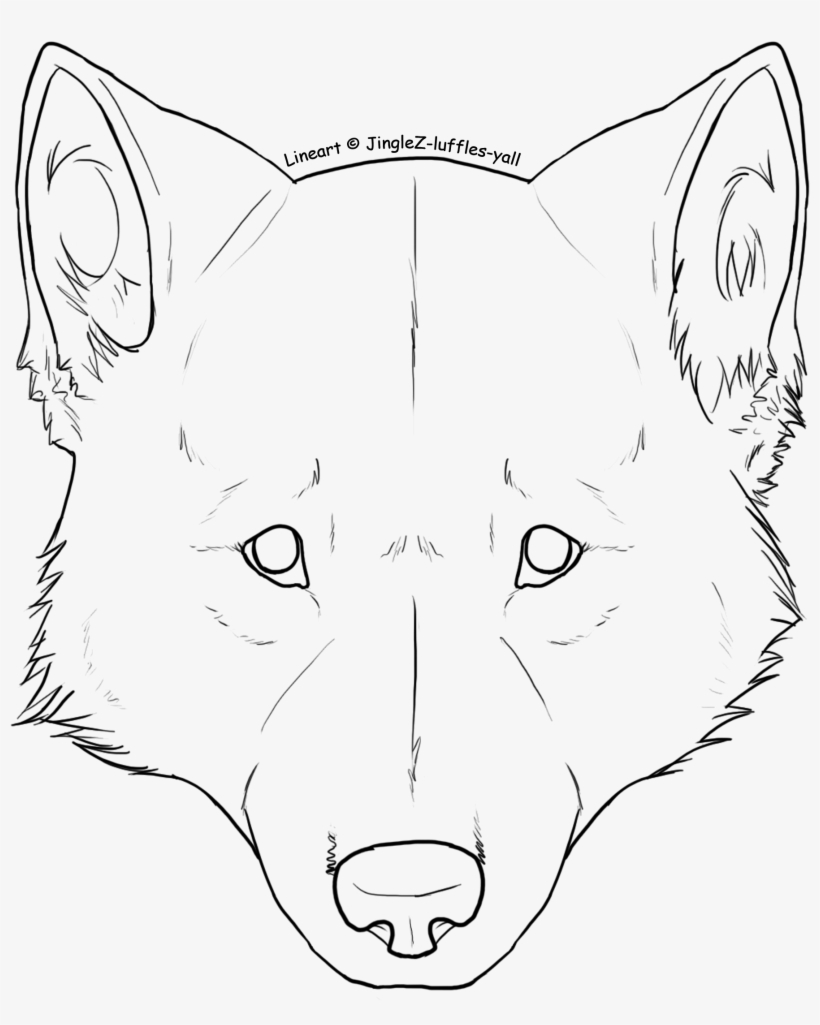 Freeuse stock free wolf head lineart wolf front face drawing
