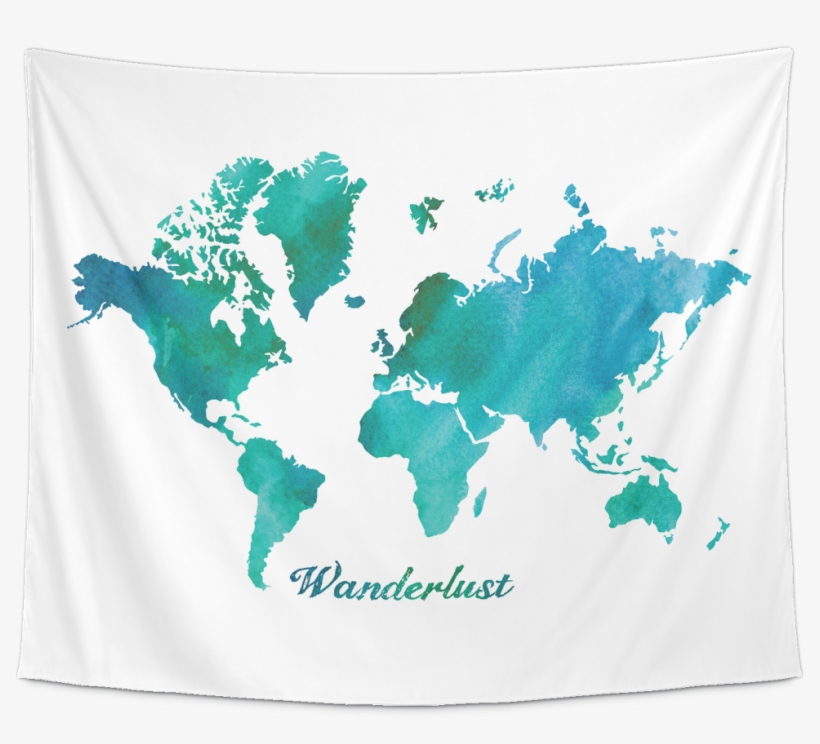 Watercolor World Map Wanderlust Tapestry - Estuaries World Map, transparent png #127006