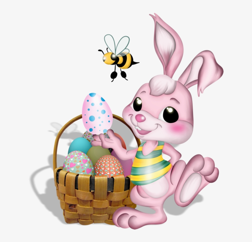 Pink Easter Bunny With Bee Png Picture - Easter Bunny Bee, transparent png #128223