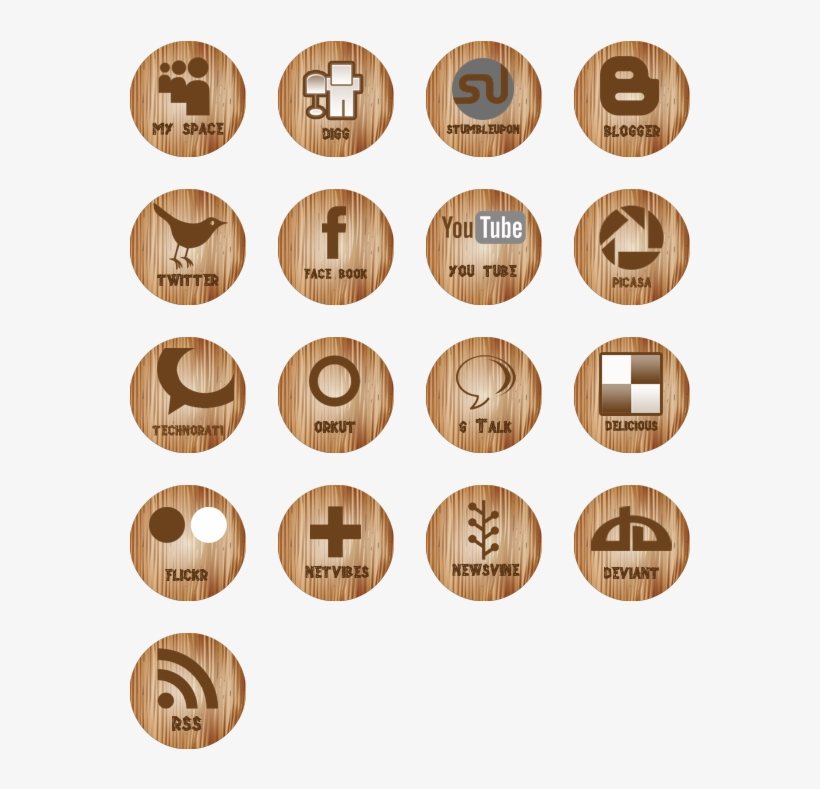 Wooden Social Media Icons Icon Pack By Kevin Subba - Social Media Icons, transparent png #128687