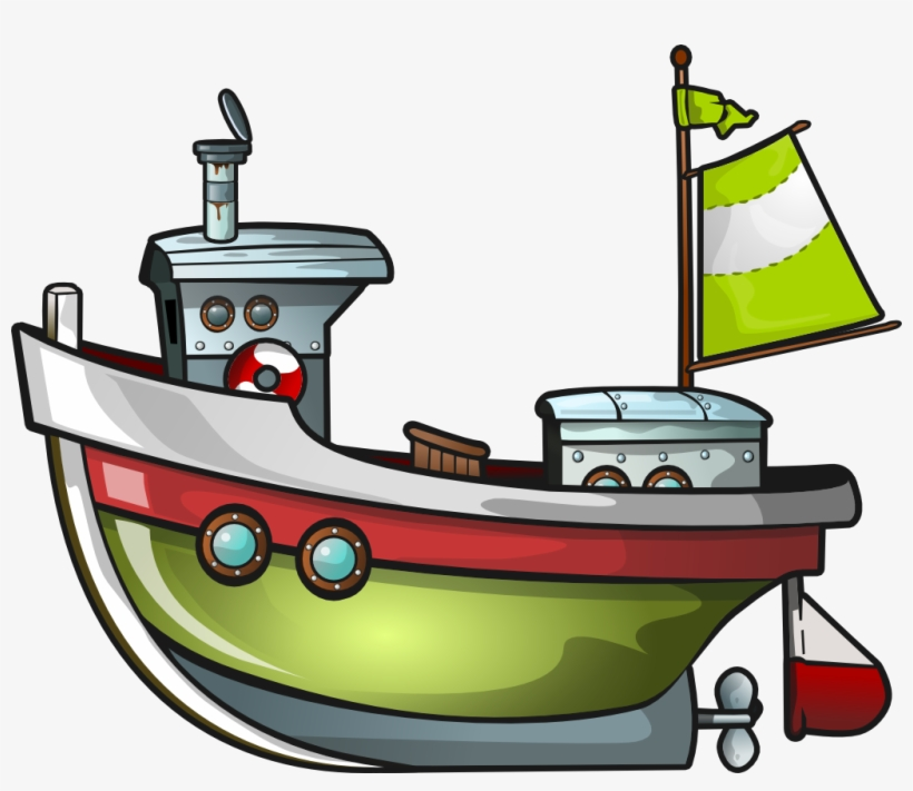 Cartoon Fishing Boat Png - Free Clipart Tug Boat, transparent png #128714